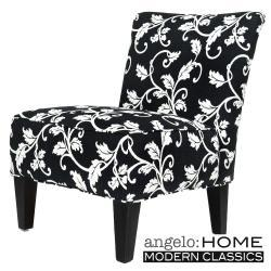angelo:HOME Davis Armless Charcoal Chair Black and White Vine.