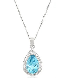 Sterling Silver Blue Topaz and CZ Necklace