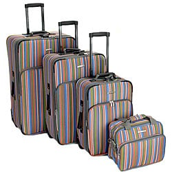 Rockland 4-piece Stripe Expandable Luggage Set
