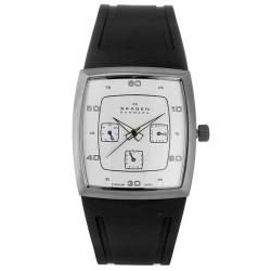 Skagen Men's White Dial Titanium Rubber Strap Watch.