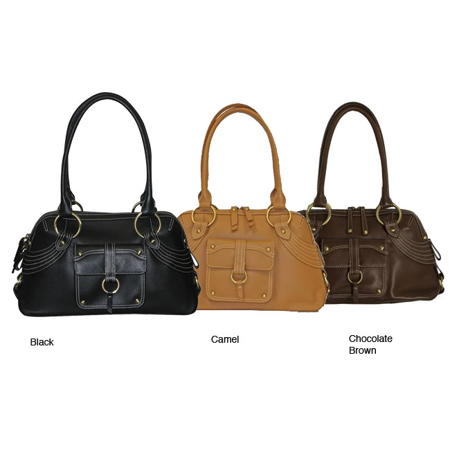 B-Collective Large Pebble-grain Leather Satchel | Overstock.com :  handbag bag topstitching satchel