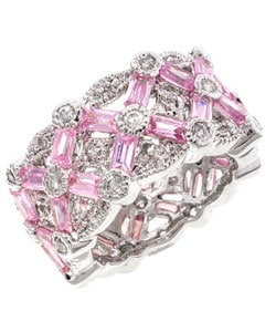 Silvertone Pink CZ Baguette Eternity Band