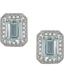 10k White Gold Aquamarine 1/5ct Diamond Earrings