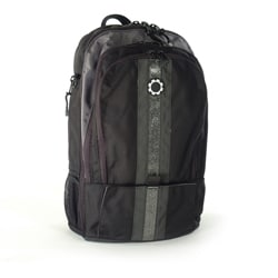 DadGear Silver Center Stripe Diaper Backpack.