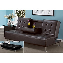 Leatherette Entertainment Futon Sofa Bed