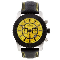 Croton Men's Yellow Dial Chronograph Watch.