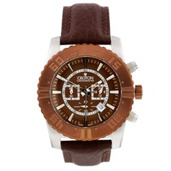 Croton Men's Brown Leather Strap Chronograph Watch.
