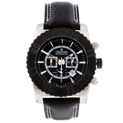 Croton Men's Black Leather Strap Chronograph Watch.