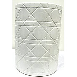 Cane Mai White Ceramic Garden Stool