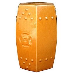 Hexagonal Orange Ceramic Stool