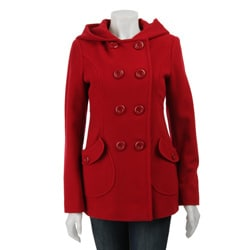 J Lo Women's Hooded Wool Peacoat