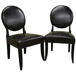 Peony Brown Leather Dining Chair (Set of 2).