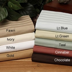 Wrinkle-resistant 300 Thread Count Woven Stripe Cotton Sheet Set