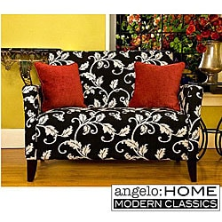 angelo:HOME Hepburn Loveseat Charcoal Black and White Vine.