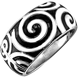 Silvertone Black Enamel Swirl Bangle Bracelet