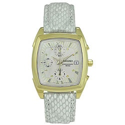 Seiko Women's White Dial White Leather Strap Chronograph Watch.