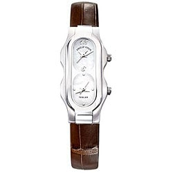 Philip Stein Teslar Women's Dual-time Brown Strap Watch