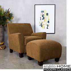 angelo:HOME Bogart Arm Chair and Ottoman Cardigan Autumn Brown.