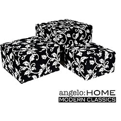 angelo:HOME Square Charcoal Black and White Vine Nesting Ottomans (Set of 3).