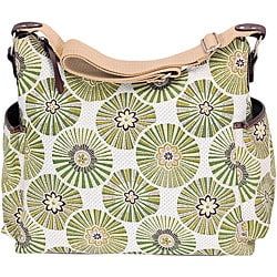 OiOi Green Floral Disc Hobo Diaper Bag.