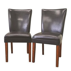 Gary Modern Brown Leather Dining Chairs (Set of 2).