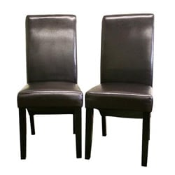 Jack Dark Espresso Brown Bi-cast Leather Chairs (Set of 2).