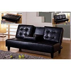 Doveva Premium Black Fold-down Tray Sofa/ Sofabed