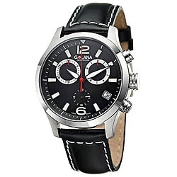 Golana Swiss Men's 'Aero Pro 200' Steel Case Leather Strap Watch.