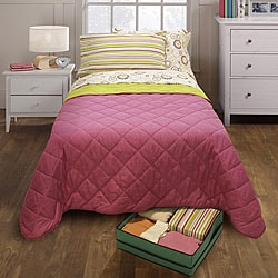 Girl's Twin XL Coverlet and Sheet Set with Underbed Storage Bin